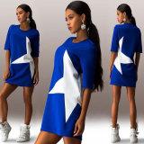 OEMのセクシーな100%Polyester半分の袖プリント光沢がある星の不足分の服