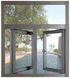 70 Serien-graue Farben-Aluminiumflügelfenster-Fenster mit örtlich festgelegtem Panel