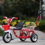 Nuevo diseño de doble asiento bebé Trike triciclo para niños con sus padres empujar manillar.