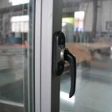 De alta calidad de la rotura térmica de aluminio Perfil de ventana corrediza con Multi Lock y real de madera del marco K01051