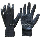 """""""Мятым"""" эффектом черного цвета с покрытием из латекса нейлоновые вязаные рукавицы"""
