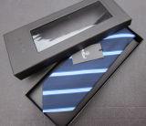 Коробка черного кожаный галстука упаковывая с окном