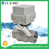 Válvula de controle motorizada elétrica da esfera 304 do aço inoxidável 316 do OEM Dn32 DC12V/24V