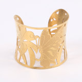 Personifiziertes Gold überzogenes hohles Basisrecheneinheits-Edelstahl-Armband