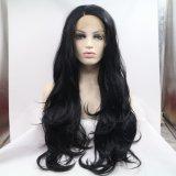 волосы волокна естественных париков фронта шнурка парика волны черных волос 1b# длиной естественных синтетических теплостойкNp для чернокожих женщин