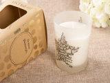 De gebemerkte Kaars van Kerstmis van de Kruik van het Glas van de Soja met de Doos van de Gift
