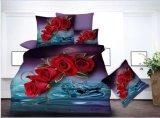 Microfiber 인쇄한 3D 침구는 꽃 작풍 침대 시트를 놓는다