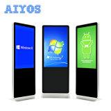 Alimentation directe Aiyos Factory 55 inch Faire pivoter la publicité Media Player Windows Android permanent de plancher de la signalisation numérique LCD