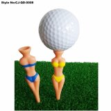 裸の女性ゴルフティーのプラスチック方法のトレーニングのゴルファーのティー