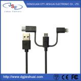 USB multifunções 3 em 1 Lynon relâmpago com cabo trançado Tipo C e Micro para telefones inteligentes