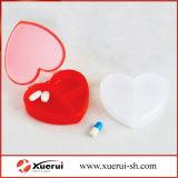 Coração de Medicina de plástico Caixa de pílulas, organizador da pílula