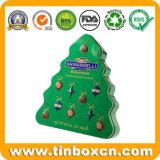 Rectángulo de empaquetado del estaño del caramelo de la Navidad del metal del regalo con la categoría alimenticia