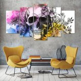 Cráneo del PCS de la impresión 5 de HD con el arte de la pared de la lona de las flores que pinta la pintura casera moderna de la decoración de la sala de estar de la impresión del arte de la pared de la decoración