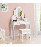 Туалетный столик, зеркало заднего вида и табурет make-up туалетный столик с 5 выдвижными ящиками и делители белого цвета