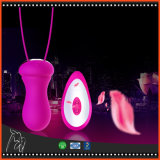 USBの再充電可能な無線リモート・コントロール10個の速度のシリコーンの振動の性の卵愛ジャンプは女性のためのマッサージャーの舌のバイブレーターに卵を投げつける