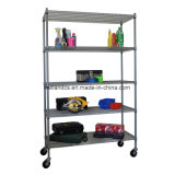 Rolling 5 Tier Shelf Commercial Wire Shelving Unit Rack Storage
