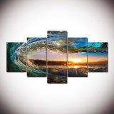 5 Stück-Seewelle, die großer Segeltuch-Wand-Kunst-sehr großer moderner Ozean-Dekor gedruckte Malleinwand-Abbildungen für Wohnzimmer anstreicht