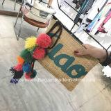 Comercio al por mayor Custom pom-pom adornos de bolas de pequeño tamaño, PU Reverso Tote Envío libre del color camel bolso de embrague de la paja