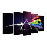 La toile modulaire estampée par HD Pokemon de peinture décrit le décor à la maison de pièce 5 parties de Pink Floyd de musique rock de mur d'art de bâti d'affiche