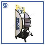 Pratical, das entfernbare Metallautobatterie-Bildschirmanzeige-Zahnstange mit Rädern Fußboden-Steht