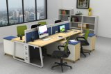 Estilo moderno de 4 personas para puesto de trabajo de escritorio de madera para oficina