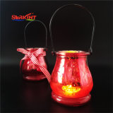 Decoration를 위한 Glass 빨간 Hurricane Outdoor 정원 Candle Holder