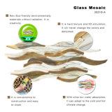 Tuile de mosaïque en bois en verre souillé d'effet de mur de décoration d'art