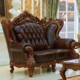 Sofá de cuero de madera para muebles de Salón (513A)