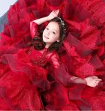Puffy filles mariage dentelle Gonws scène Red manches 3/4 Flower Girl Dress F1511