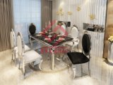 고전적인 식당 가구 유리 또는 나무 또는 대리석 최고 스테인리스 식탁