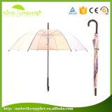 Roter Großhandelsrand-transparenter gerader Regenschirm für Förderung