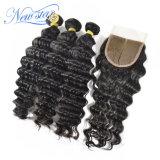 4X4 레이스 마감 중간 부분에 의하여 표백되는 매듭 중국 깊은 파 머리