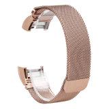 Reemplazo de oro rosa Correa de bucle magnético Pulsera de acero inoxidable para Fitbit cargar 2