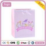 Bolsas de papel rosadas del regalo del arte del almacén de ropa de los niños del pájaro