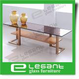 Tabella dorata del lato dell'acciaio inossidabile con la parte superiore di vetro di Somked