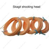Linha de pesca linha ultra baixa da mosca da cabeça do tiro de Skagit linha cabeça de flutuação da mosca do estiramento de Spey do tiro da pesca de mosca com 2 laços soldados