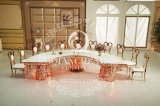 LEDの円形のステンレス鋼の装飾的な金属のダイニングテーブルの結婚式表