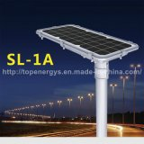 30W 160lm/W 5200lm todo em uma luz de rua solar Integrated do diodo emissor de luz da bateria de lítio IP66