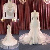 Новый изготовленный на заказ высокий поезд платья венчания Mermaid шнурка ворота длинний