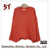 女性カスタム純粋なカラー長い袖の広い袖口の余暇のセーター