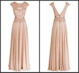 Une ligne robe dentelle sans manches nue de la Prom Beigie mariage robe de soirée W15928