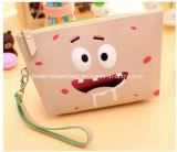 El bolso cosmético de la pequeña cremallera de cuero cosmética portable exquisita al por mayor de la PU compone el bolso