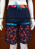 Beachwear curto do Swimwear da maneira da impressão 4 do poliéster para homens