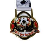 白黒リボンが付いているフットボールの試合メダル