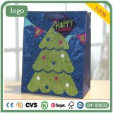 Arbre de Noël Glitter Patten Sac en papier bleu, sac de papier cadeau