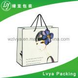 習慣はショッピングギフトのパッキングロゴによって印刷されるクラフト紙袋を卸し売りする