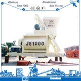 Mezclador concreto 50-60m3/H de mezcla de la planta de la correa espiral gemela automática eléctrica concreta Js1000 del uso