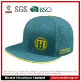 Green Linen Flat Brim Snapback Hat com sanduíche amarelo