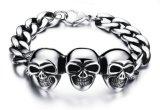 De Toebehoren Pulseras van de Juwelen van drie Mensen van de Armbanden van de Stijl van de Rots van de Ketting van het Roestvrij staal van de Juwelen van de Mensen van de Armband van de Schedel Uitstekende 316L Punk