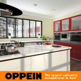 Armadi da cucina rossi bianchi moderni della lacca di lucentezza di Oppein alti (OP16-L13)